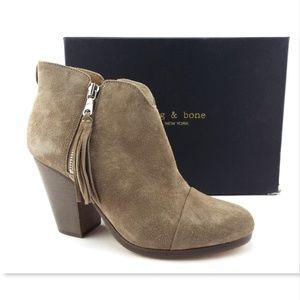 NIB RAG & BONE Stone Waxed Suede Fringe Boots 37.5